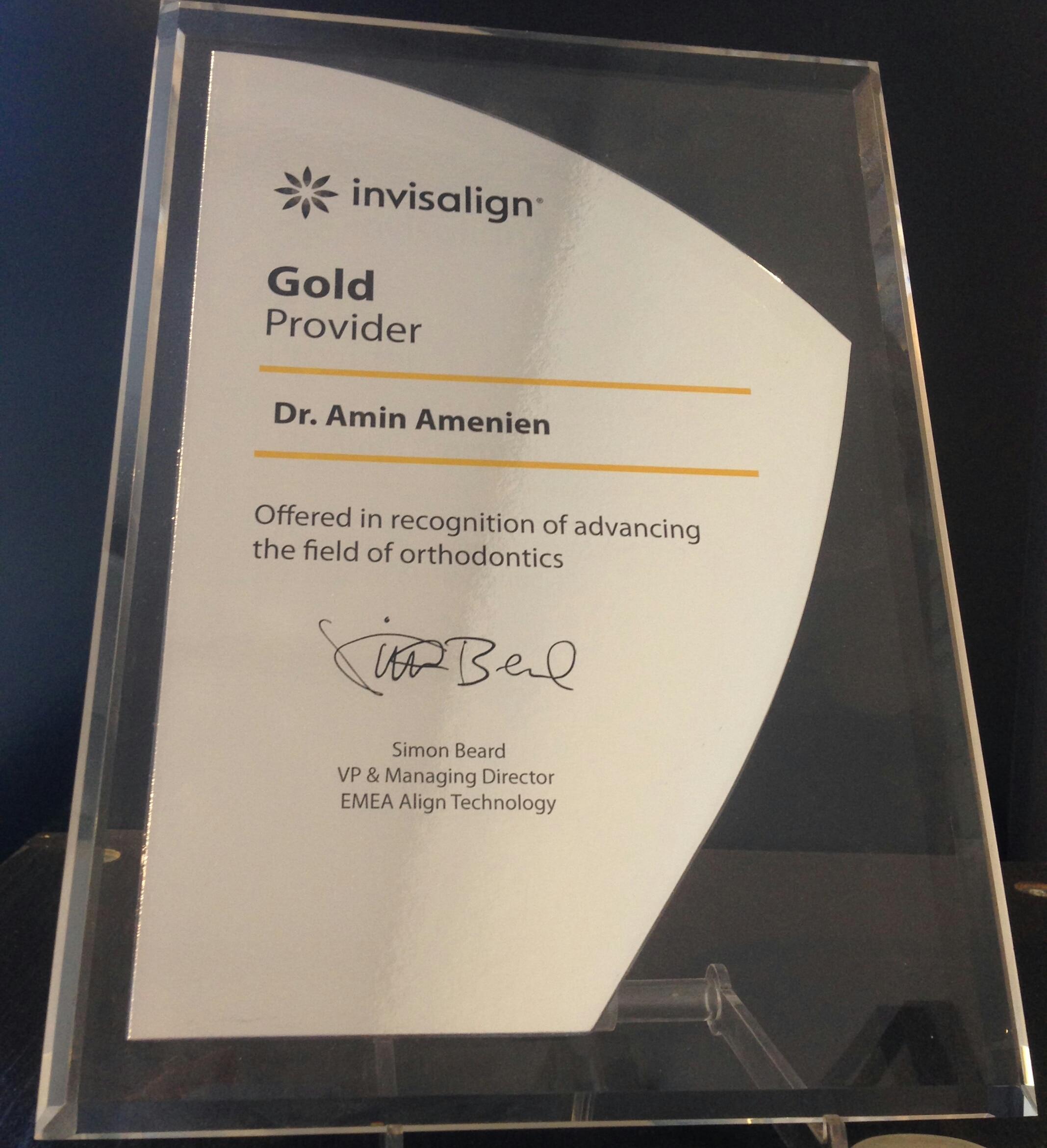 We are gold Invisalign provider